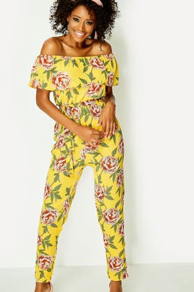 YELLOW YELLOW TUSCAN FLORAL BARDOT TAPERED JUMPSUIT